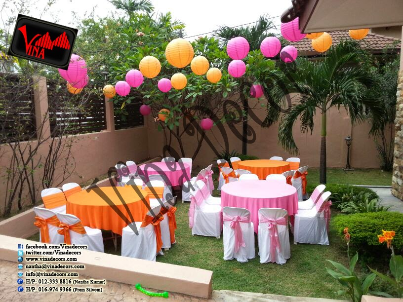 Happy 60th Birthday Decoration with paper lantern (Orange and Pink) simple backdrop by Vina Canopy & Decor