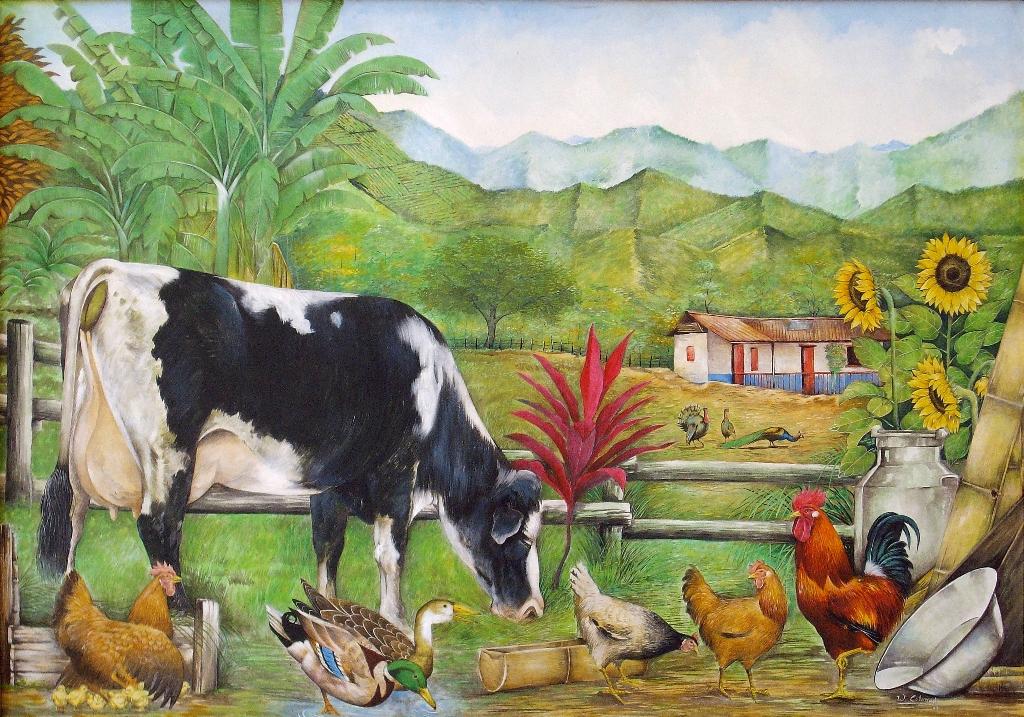 Im genes arte pinturas paisaje finca con vaca - Cuadros de vacas ...