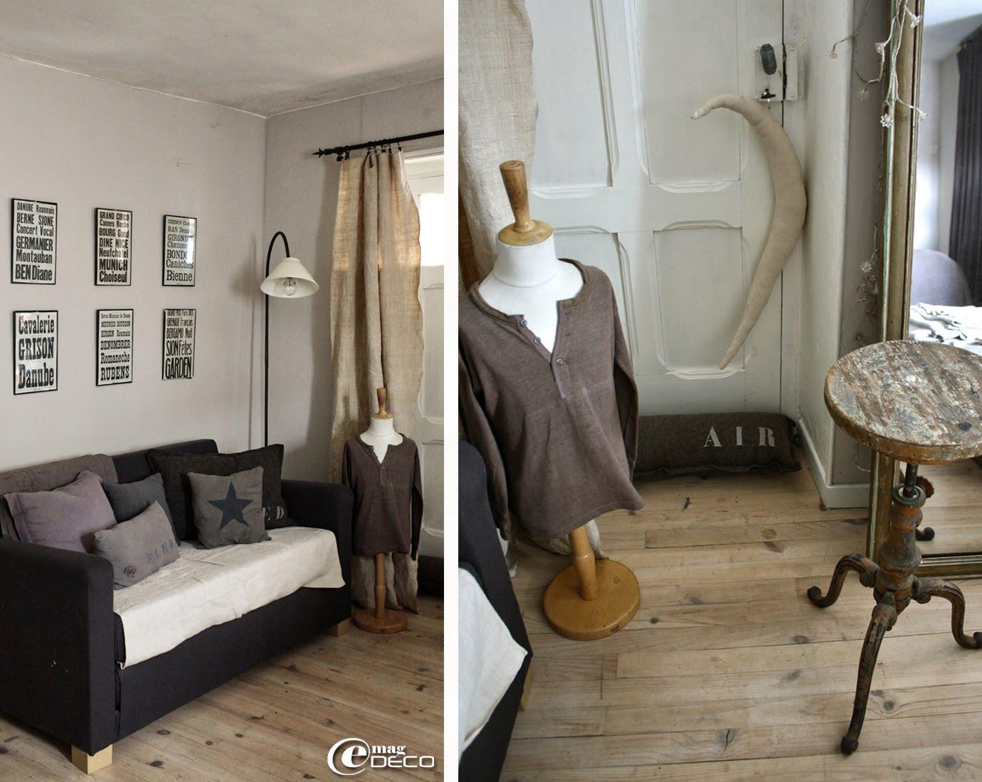 Petit mannequin enfant, lampe sur pied vintage et coussins peints au pochoir, créations Florence Bouvier