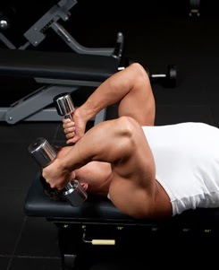 Lying tricep extension exercise using dumbbells1