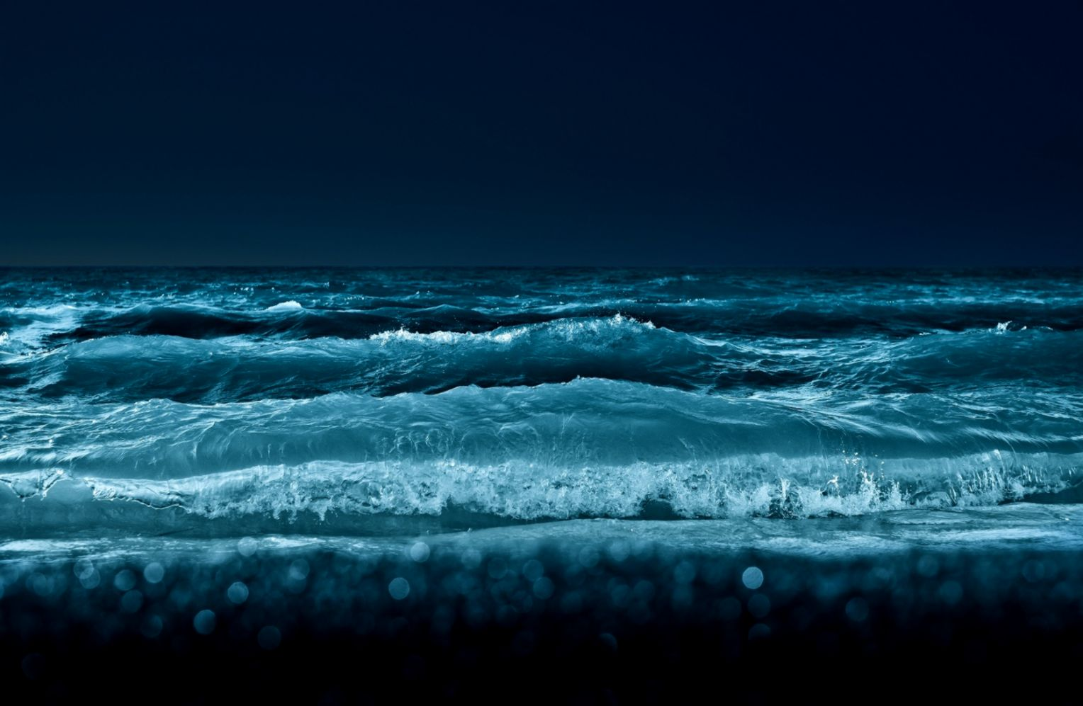 1680x1050 Ocean Waves at Night Wallpaper