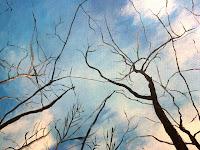 pintura-con-acrílicos-entramado-bosque-cielo-detalle
