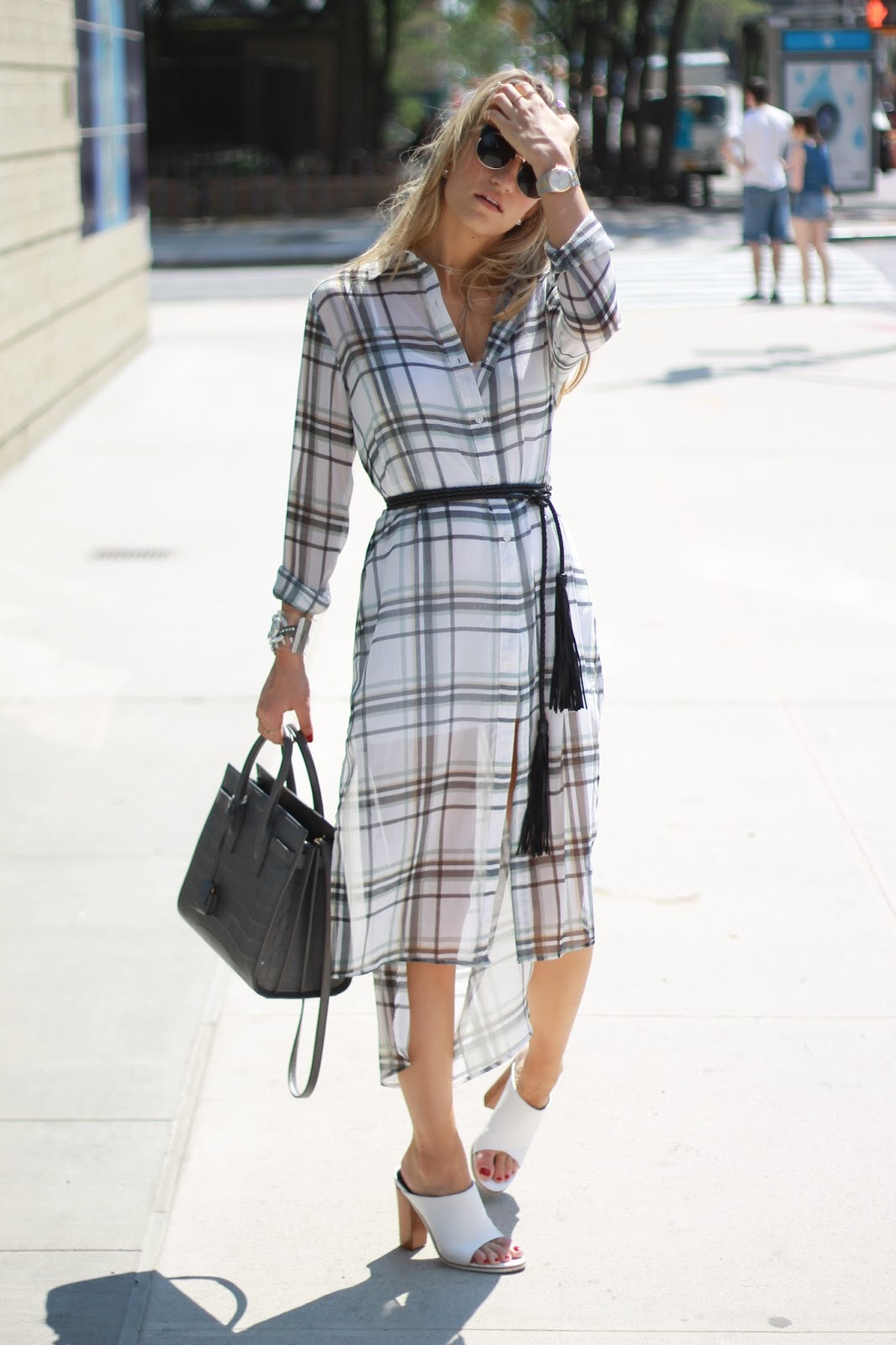 midi shirt dress, plaid shirt dress