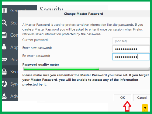 how to set mozilla browser master password