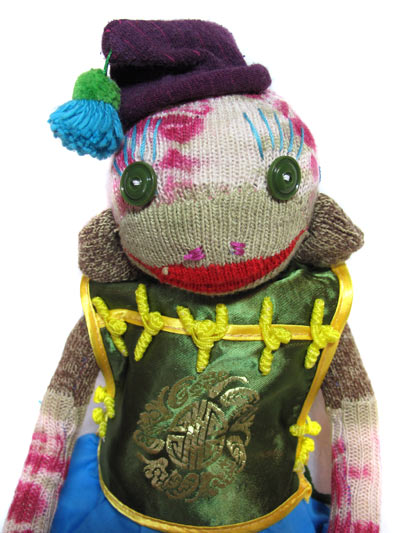 tie dyed sock monkey chinese jacket