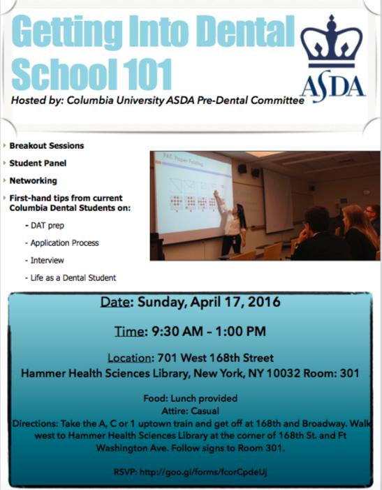 Columbia University ASDA Getting Into Dental School 101 – Marlene ...