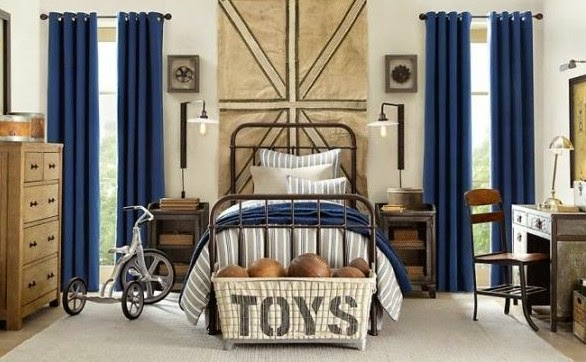 Traditional boys room decor ideas 2015, blue curtain and toys basket, iron bed