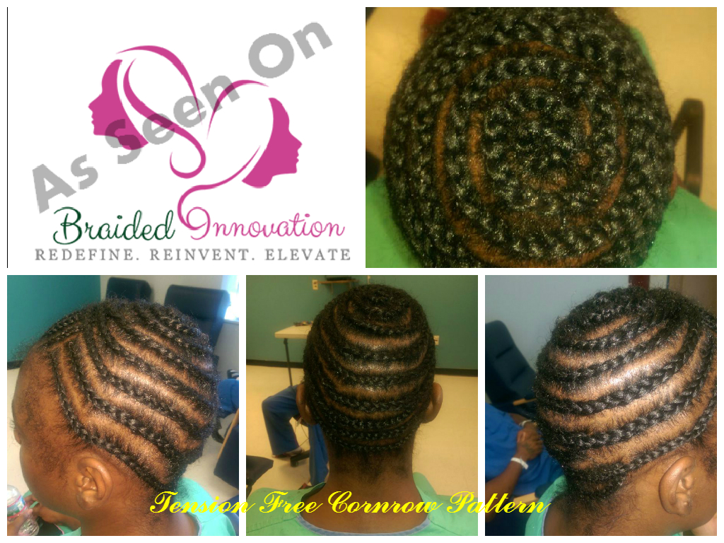 Braided Innovations Tension Free Cornrow Pattern Threadlessew In