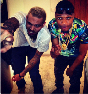 Chris Brown and Wizkid at Eko Hotel last night
