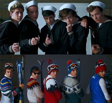 One Direction dressed on sailor and ski attire in Kiss You music video