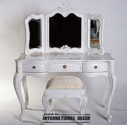Dressing table in the bedroom interior mandatory for French white dressing table