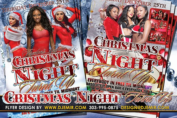 Freelon's Lounge Christmas Night Turnt Up Sexy Santa Party Flyer Design Jackson Mississippi