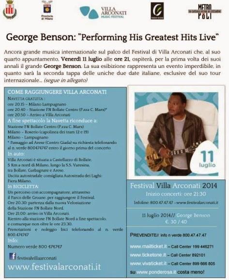 villa arconati festival 2014, George Benson in concerto il 11 luglio 2014