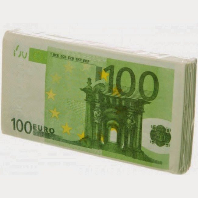 Servilletas de papel billetes 100 EUR