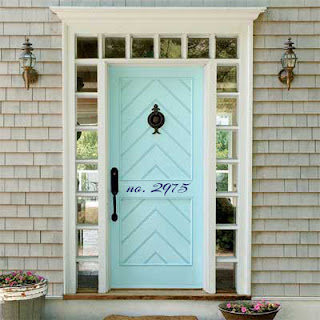 teal blue front door