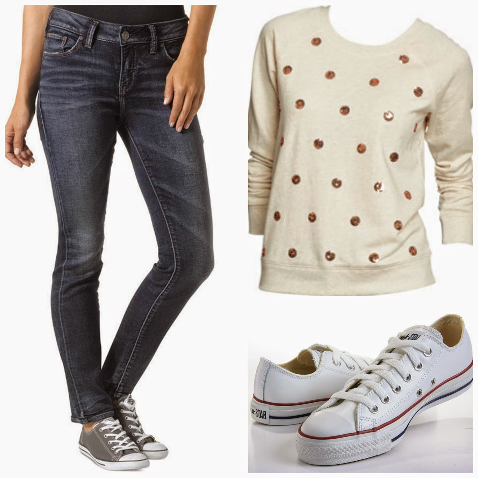 jeans, sequined polka dot sweatshirt, converse tennis shoes
