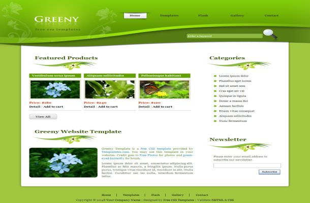 Free Green Floral Vector Css Website Template