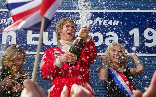 Chris Hemsworth celebrates as James Hunt in Rush