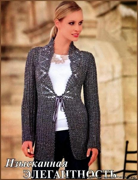 patron saco tejido crochet y dos agujas dama