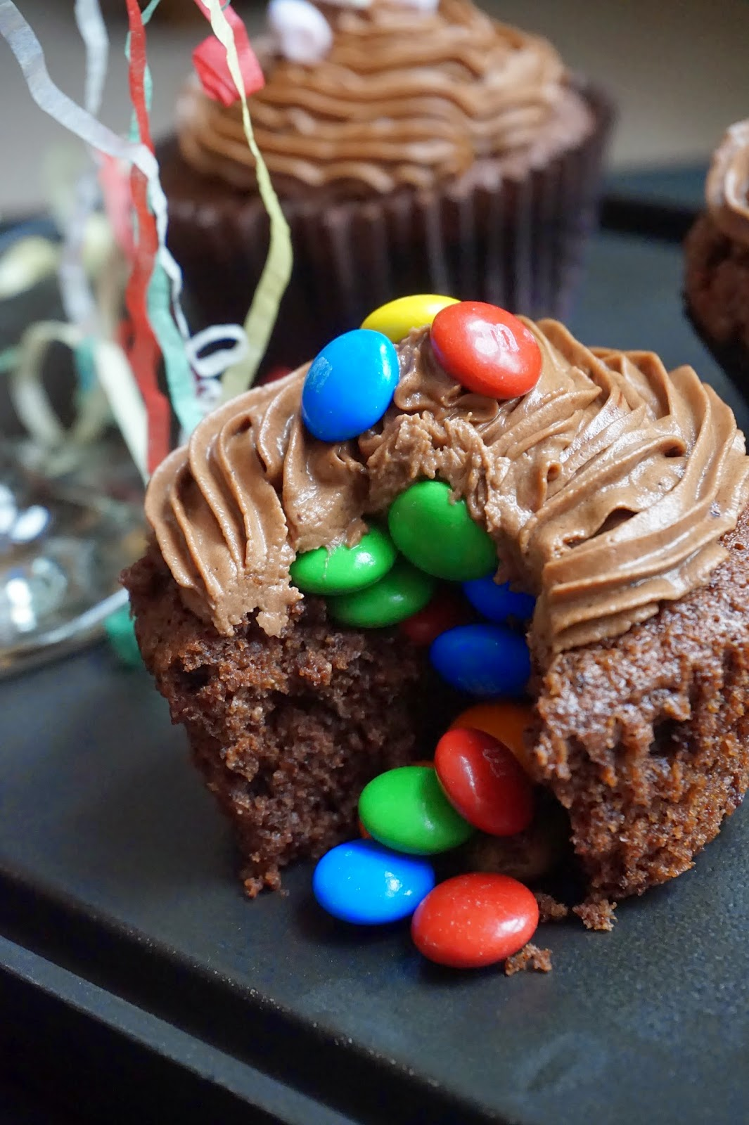 A Muffin with M&M's cascading out