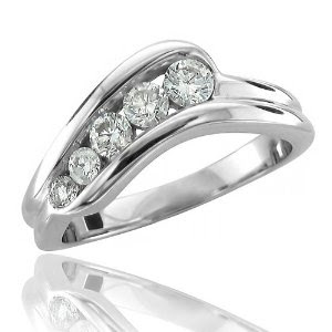 14k White Gold 5 Stone Diamond Ring Band