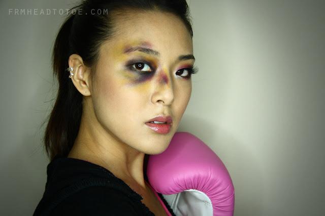 Boxer Girl Bruised Eye Halloween Tutorial - From Head To Toe