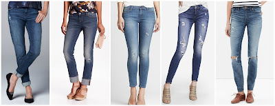 Simply Vera Wang Skinny Boyfriend Jeans $30.00 (regular $50.00)  Old Navy Boyfriend Straight Jeans $32.00 (regular $36.94)  Banana Republic Distressed Skinny Ankle Jean $44.99 (regular $98.00)  Express Mid Rise Distressed Jean Legging $88.00 buy 1 get 1 for $19.90  Madewell High Riser Skinny Jeans: Torn Knee Edition $94.50 (regular $128.00) also in regular rise