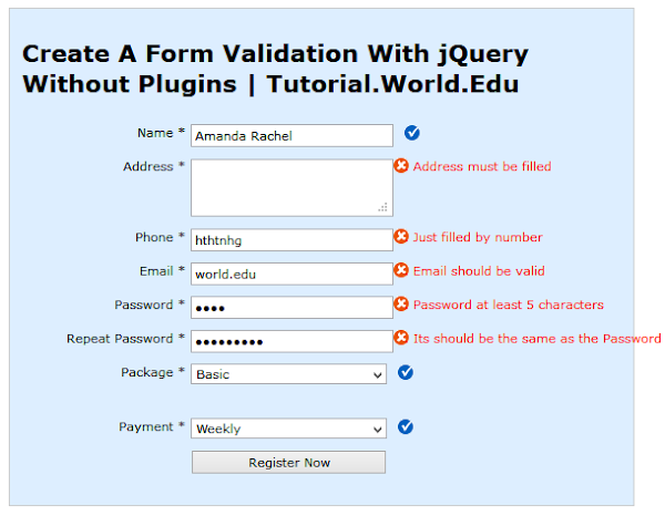 Create A Form Validation With jQuery Without Plugins