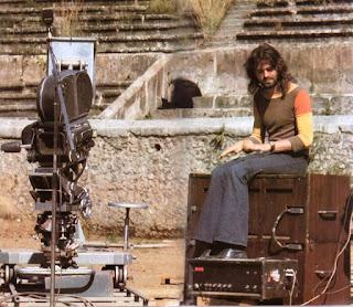 Rick durante el rodaje del Live at Pompeii