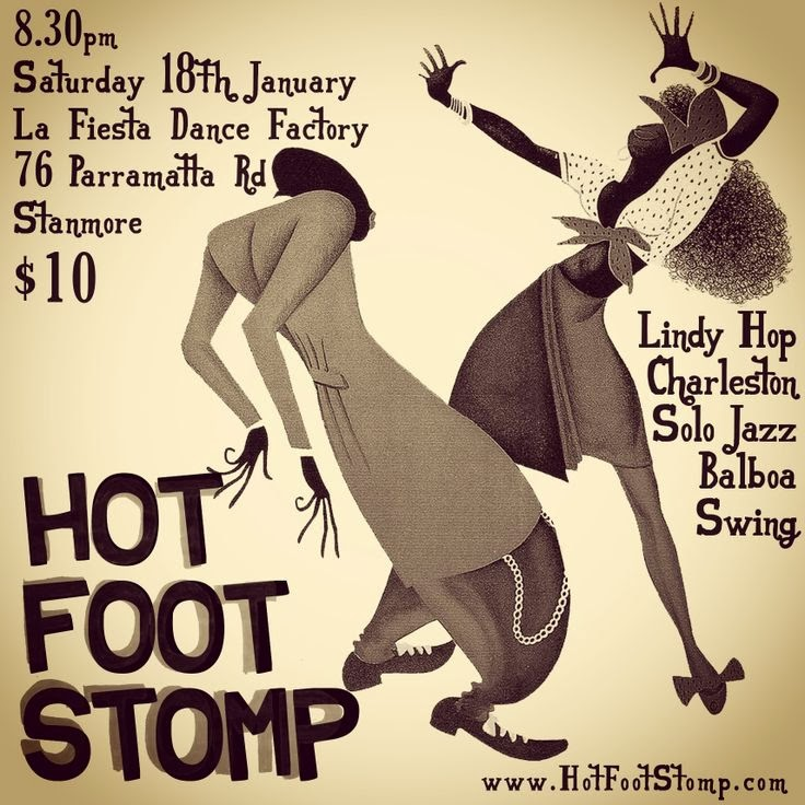 poster advertising hotfootstomp dance illustration