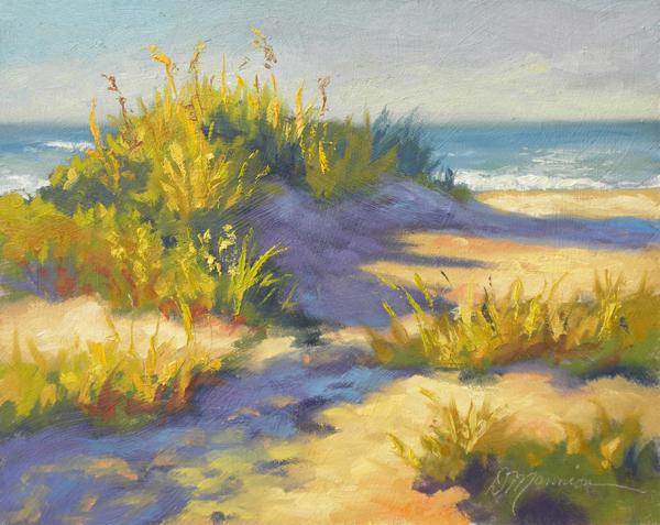 Diane mannion morning beach light 8x10 oil