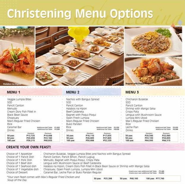 Max S Restaurant Baptismal Reception And Party Packages Mommy Practicality