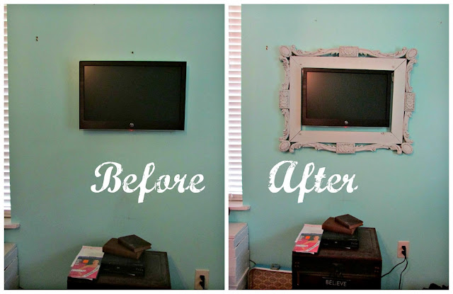 just a little creativity quick decorating tip frame your wall mounted tv. Black Bedroom Furniture Sets. Home Design Ideas