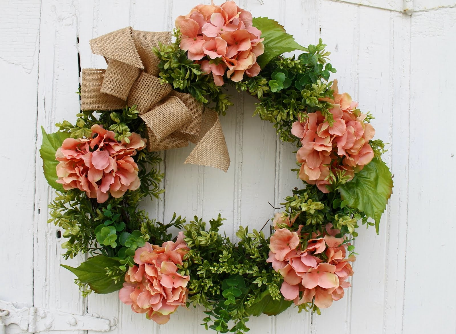 Coral Hydrangea Wreath