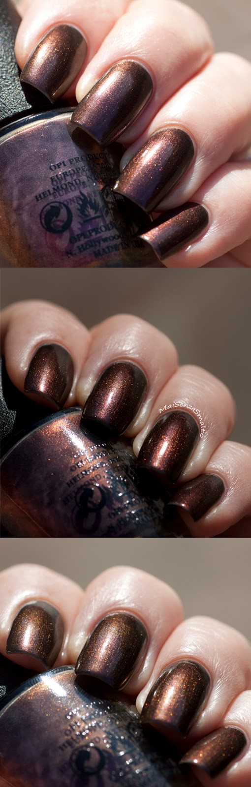 OPI Muir Muir on the wall color shift (3 pics)