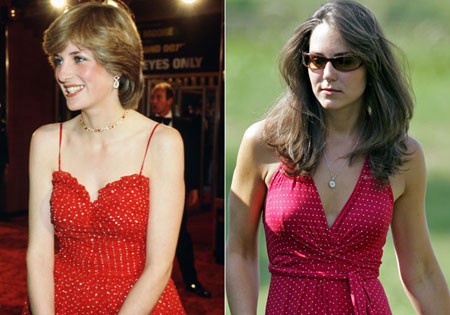 принцеса Даяна и Кейт Мидълтън с рокли на точки