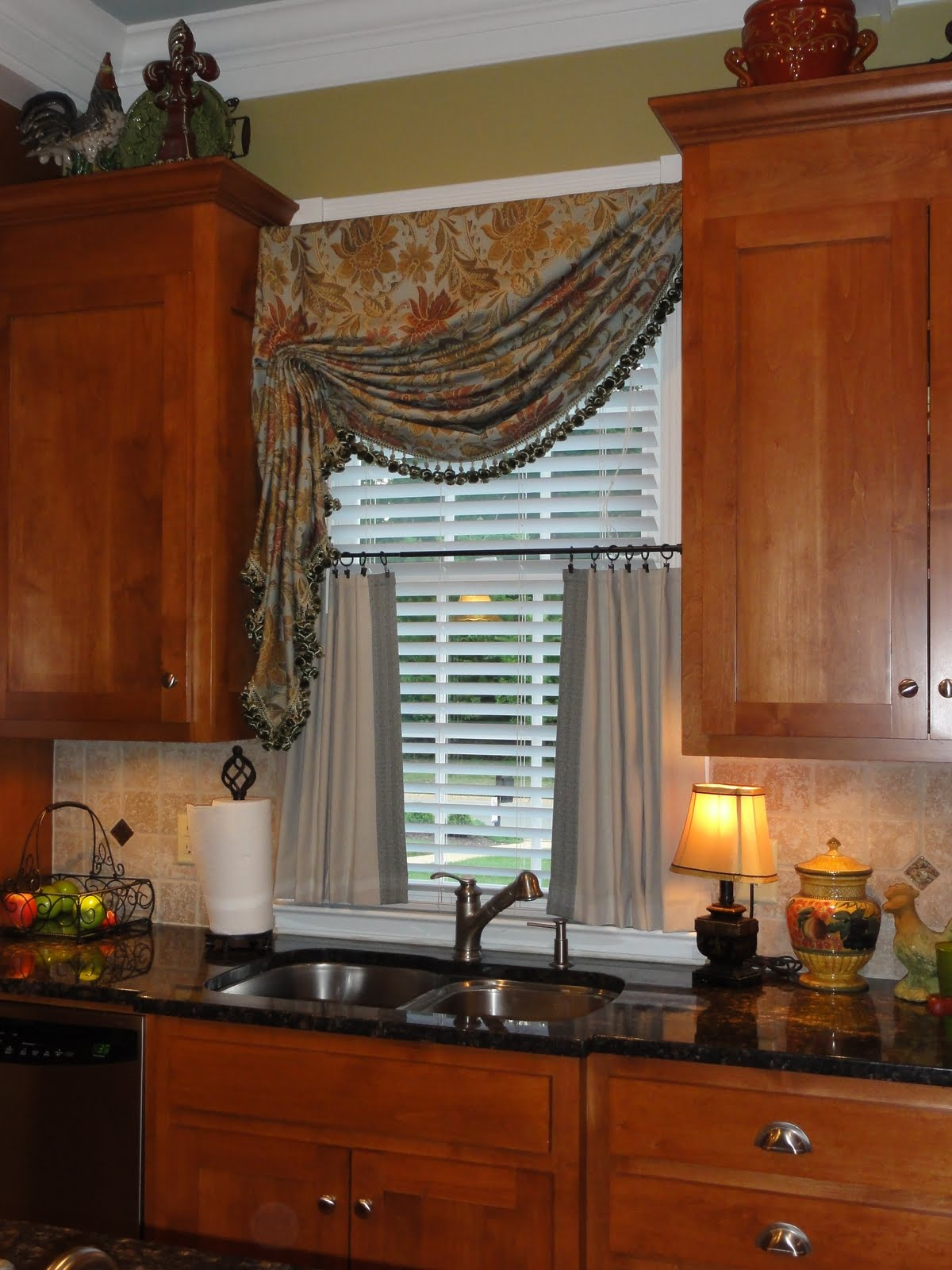 Simply by sabrina kitchen window treatment add on for Bay window treatments ideas kitchen