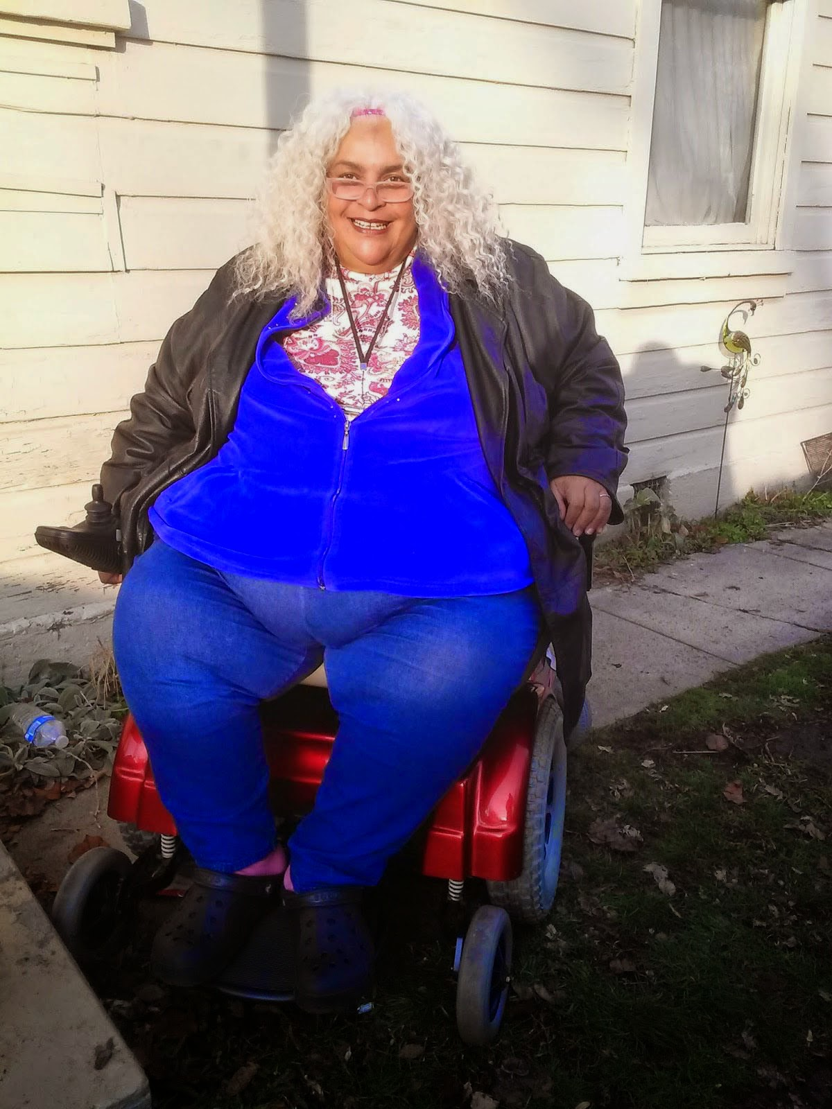 Reita Lee in her repaired wheelchair.