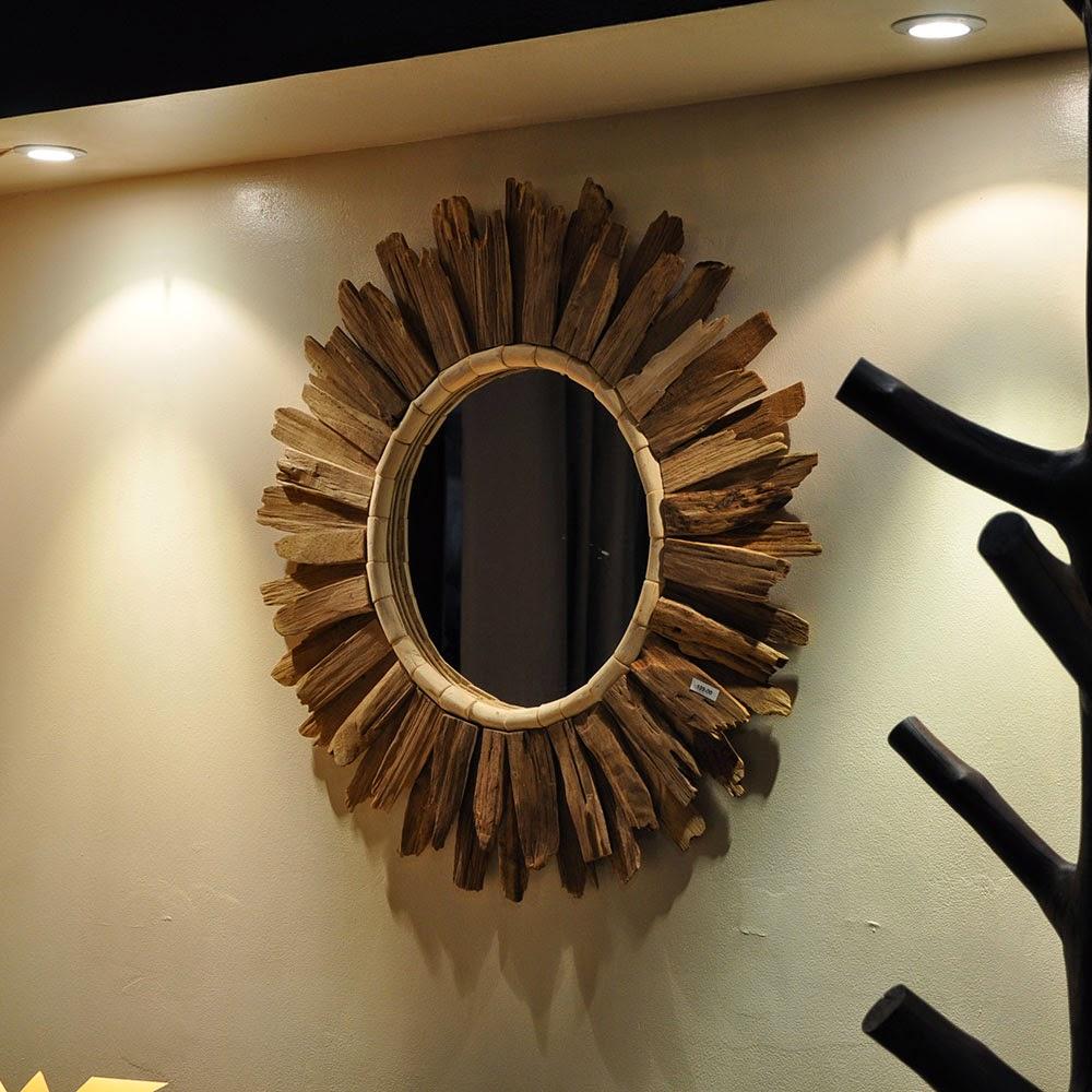 Espejos con madera a la deriva decoracion for Espejos circulares decorativos