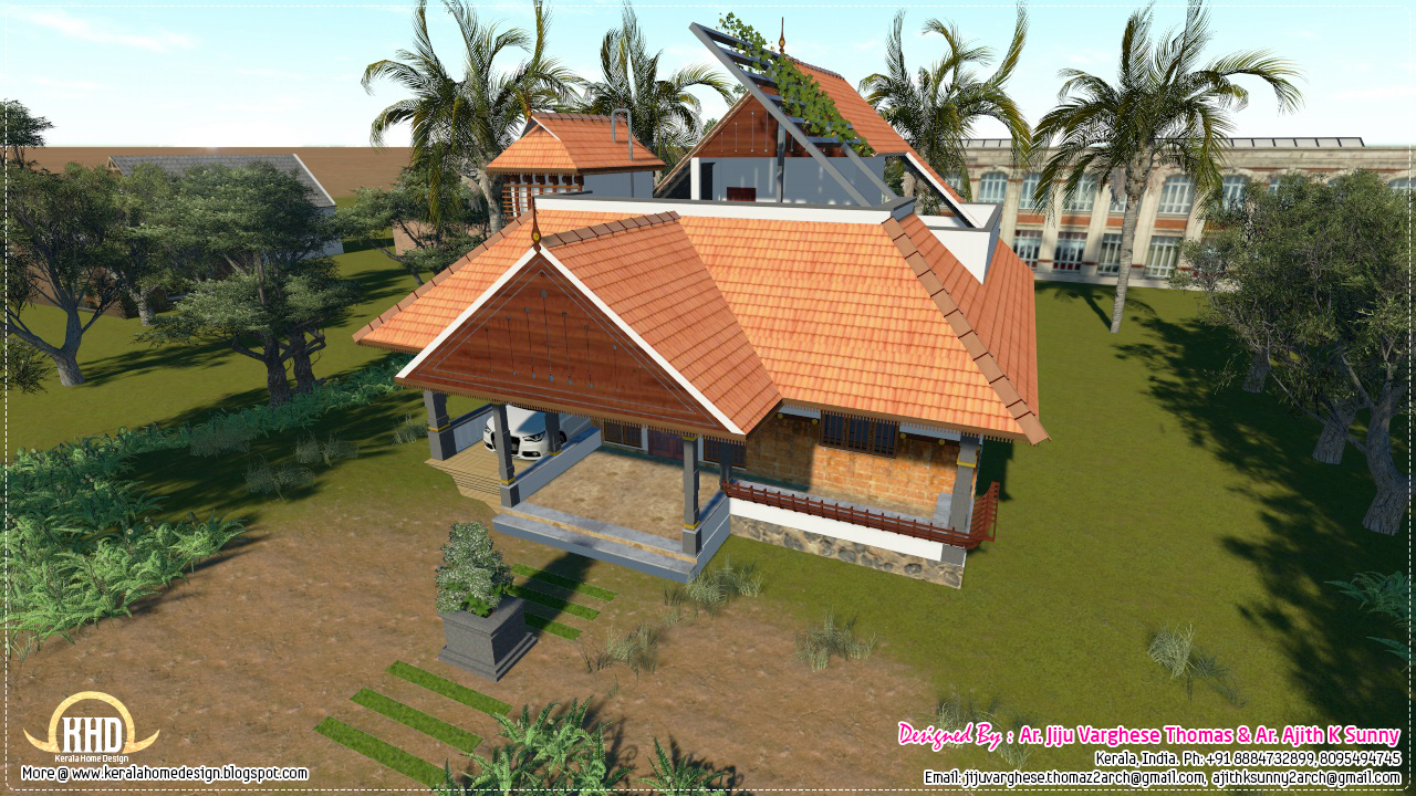 Traditional Kerala house in 1200 sq.feet