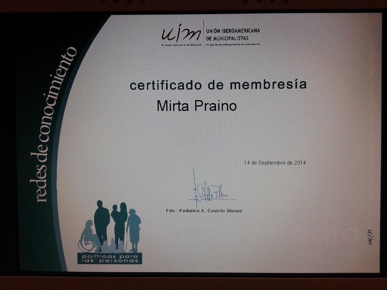 Certificado de Membresia