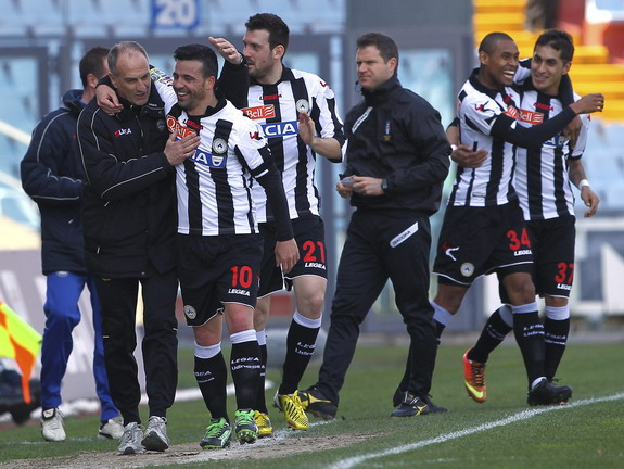 Udinese player Antonio Di Natale celebrates after scoring his second goal against Chievo