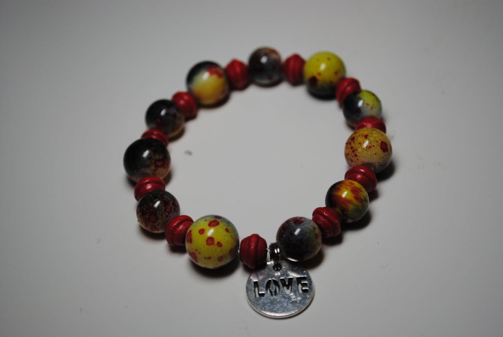 Around the World Bracelet with Love Charm - Yellow/Red $12