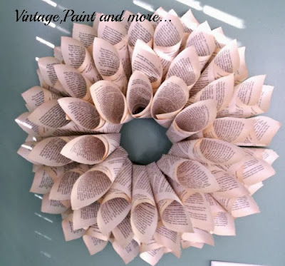 Book Page Wreath Tutorial - finished small size wreath