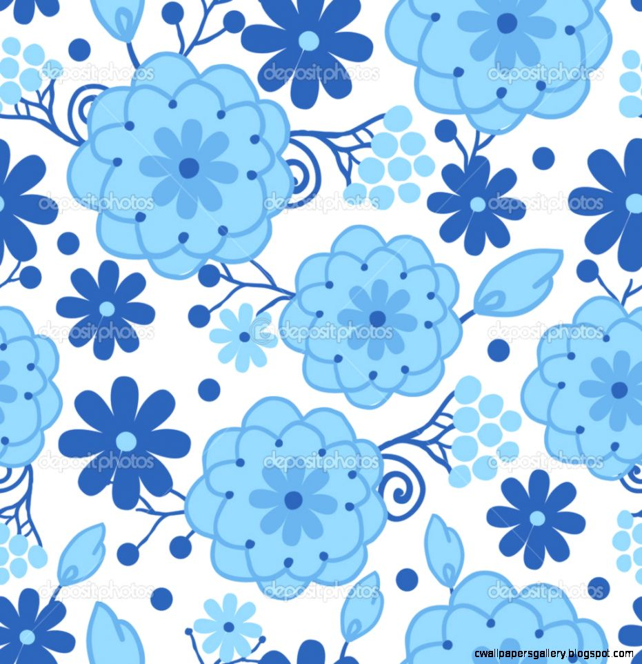 Delft blue Holland flowers seamless pattern background — Stock