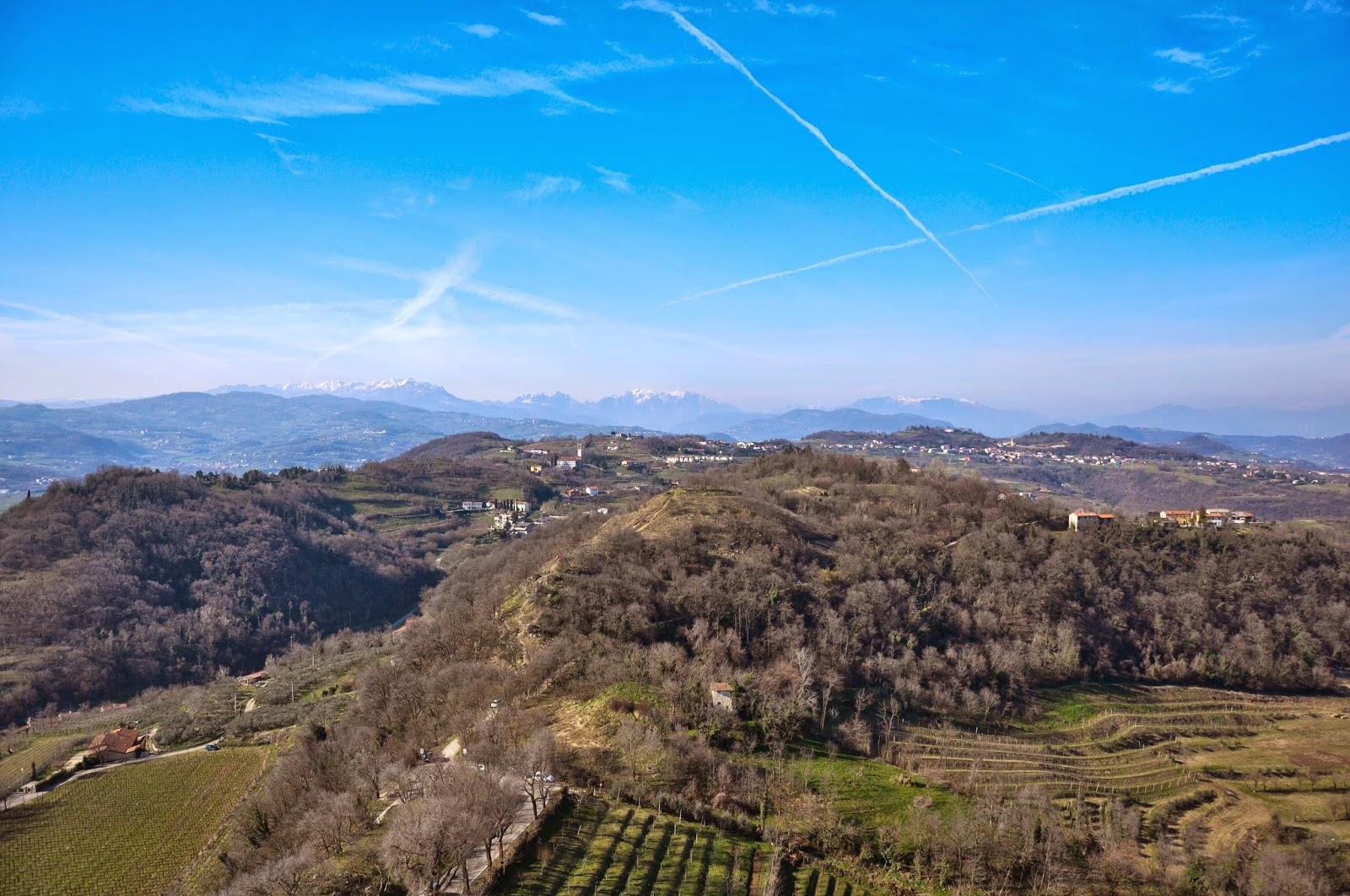 Fabulous panoramic view towards Veneto with the pre-Dolomites in the distance