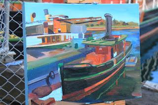oil painting of 'Lady Hopetoun' Sydney Heritage Fleet by artist Jane Bennett