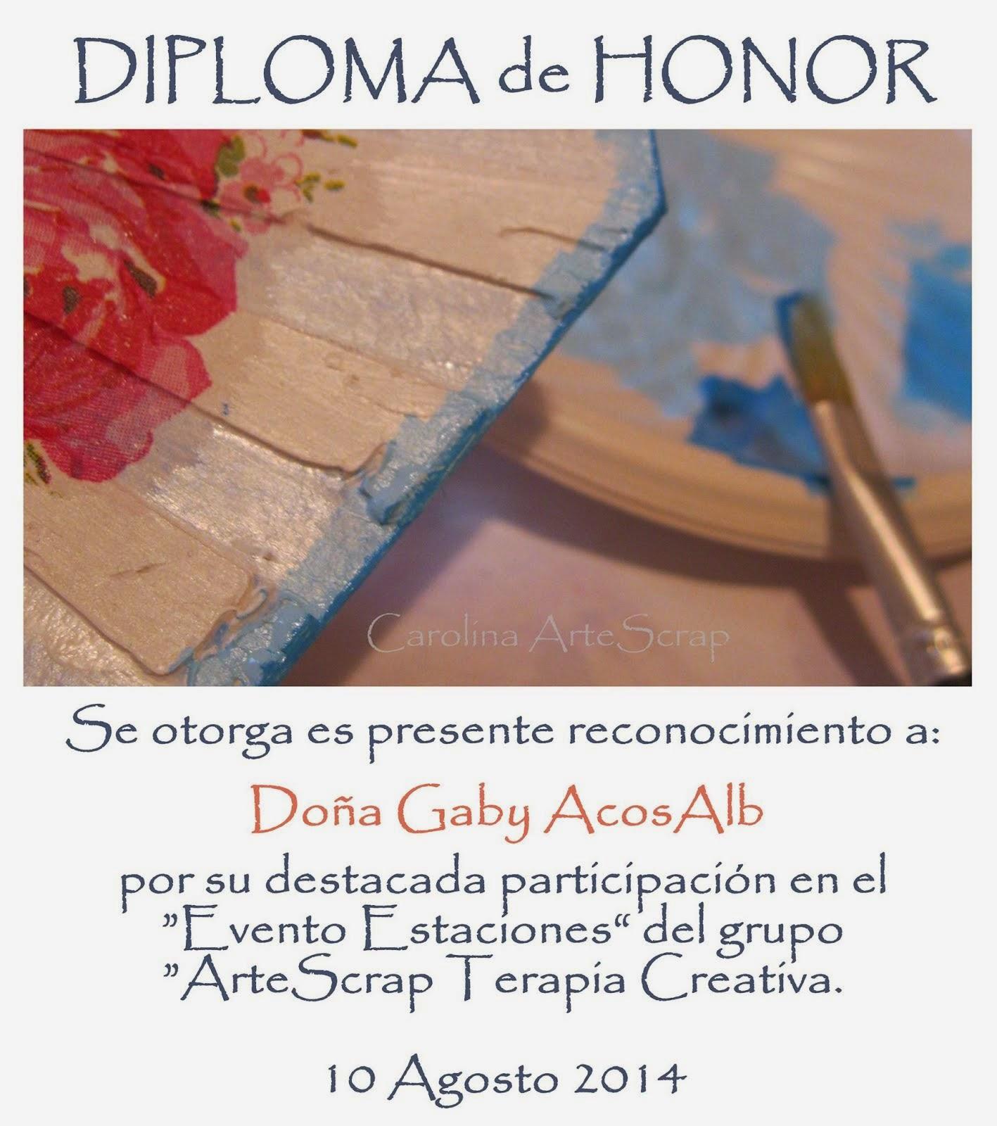 Mi diploma de honor por parte de Carolina ArteScrap 2.0