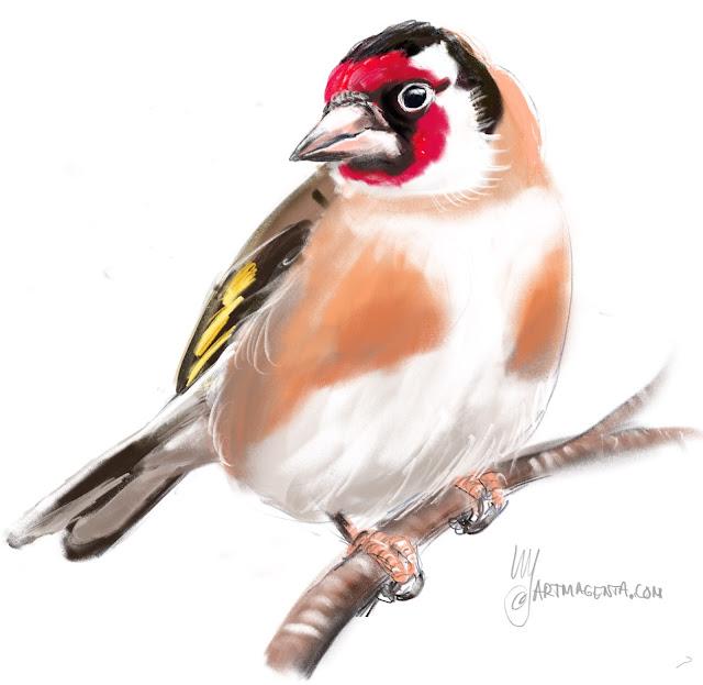 Steglits en fågel-målning av Artmagenta