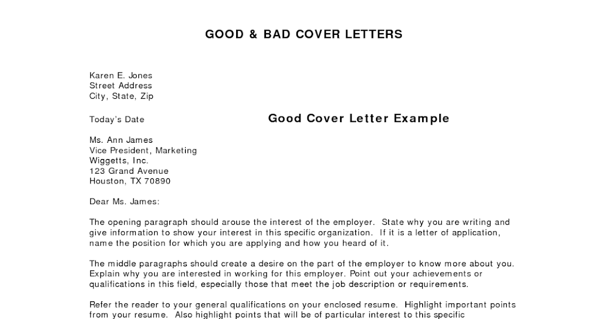 good covering letter example